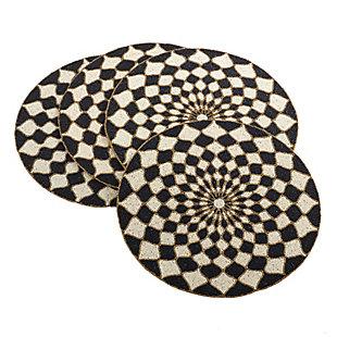 Saro Lifestyle Belagavi Collection Beaded Design Placemat (Set of 4), , large