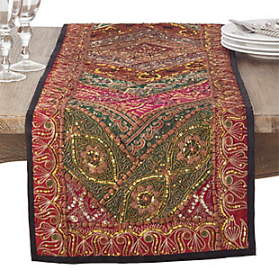 Saro Lifestyle Handmade Sari 'Sitara'  16x72 Table Runner, , large