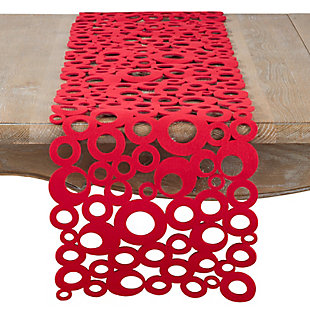 Saro Lifestyle Red Felt 13x48 Table Runner, , large