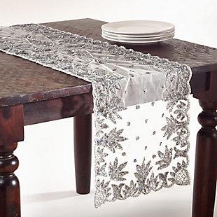 Saro Lifestyle Hand-beaded Design 16x72 Table Runner, , large