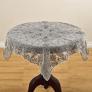 "Saro Lifestyle Hand-beaded Design 40"" Round Table Cloth, , large"