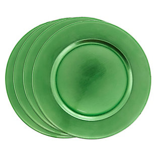 Saro Lifestyle Classic Design Charger (Set of 4), Green, large