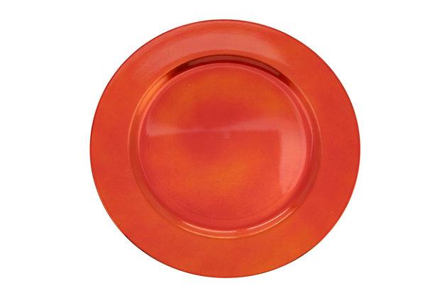 Saro Lifestyle Classic Design Charger (Set of 4), Orange, large