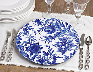 Saro Lifestyle French Style Floral Print Decorative Charger (Set of 4), , large