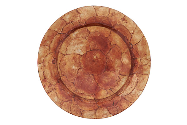 Saro Lifestyle Charger Plates with Capiz Shell Design (Set of 4), Bronze, large