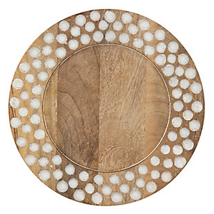 Saro Lifestyle Wood Charger Plates with Dot Design (Set of 4), , large