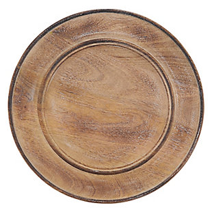 Saro Lifestyle Charger Plates with Wood Design (Set of 4), , large