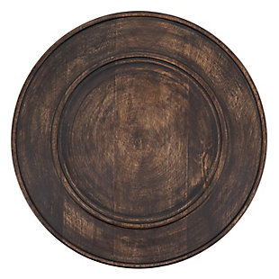 Saro Lifestyle Charger Plates with Dark Wood Design (Set of 4), , large