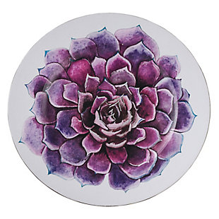 Saro Lifestyle Floral Table Charger with Succulent Flower Design (Set of 4), Purple, large