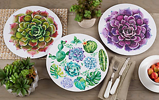 Saro Lifestyle Dinner Plate Charger with Two-Tone Succulent Flower Design (Set of 4), Green, rollover