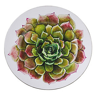 Saro Lifestyle Dinner Plate Charger with Two-Tone Succulent Flower Design (Set of 4), Green, large