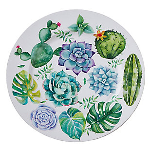 Saro Lifestyle Succulent Plants Design Charger Plates (Set of 4), Green/Blue, large