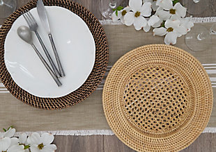 Saro Lifestyle Round Design Rattan Charger Plates (Set of 4), Brown, rollover