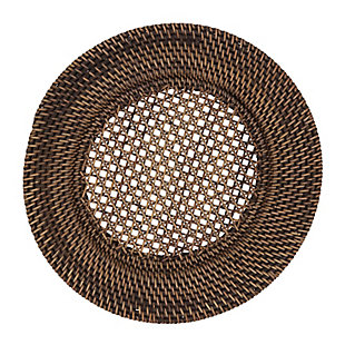 Saro Lifestyle Round Design Rattan Charger Plates (Set of 4), Brown, large