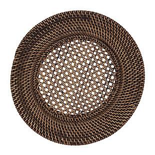 Saro Lifestyle Round Design Rattan Charger Plates (Set of 4), Brown, large