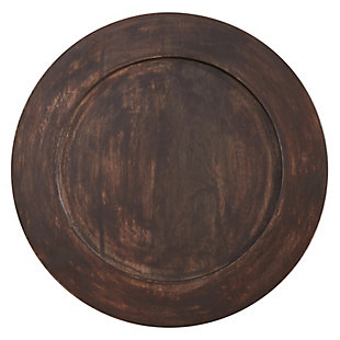 Saro Lifestyle Round Table Charger with Dark Wood Design (Set of 4), , large