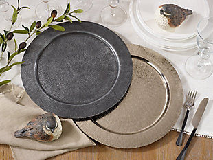 Saro Lifestyle Aluminum Charger Plates with Hammered Design (Set of 4), Gray, rollover