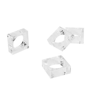 Saro Lifestyle Square Block Design Crystal Glass Napkin Ring (Set of 4), , large
