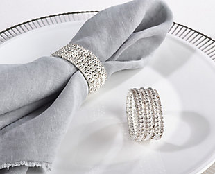 Saro Lifestyle Glass Stone Jeweled Napkin Ring (Set of 4), , rollover