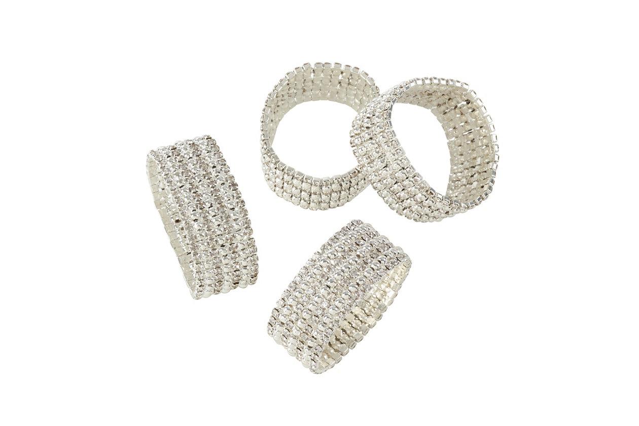 Set de 4 Napkin Rings Paillettes Noir//Nickel Plaqué-blph 2343