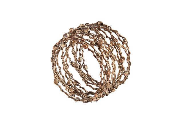 Saro Lifestyle Metal Design Napkin Ring (Set of 4), Gold, large