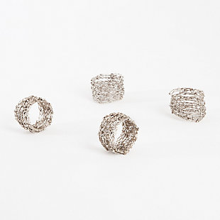 Saro Lifestyle Metal Design Napkin Ring (Set of 4), Silver, large