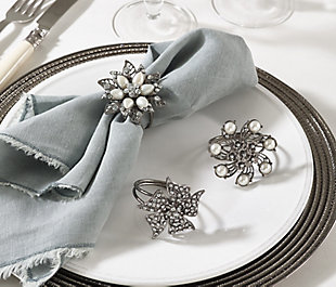 Saro Lifestyle Bejeweled Flower Design Napkin Ring (Set of 4), , rollover