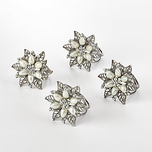Saro Lifestyle Bejeweled Flower Design Napkin Ring (Set of 4), , large