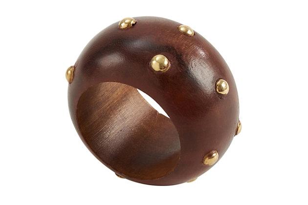 Saro Lifestyle Wood Napkin Ring with Studded Design (Set of 4), , large