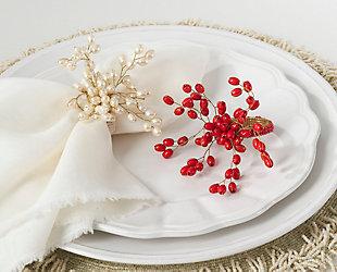 Saro Lifestyle Faux Pearl Napkin Ring (Set of 4), , rollover