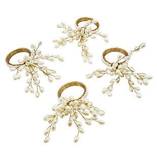 Saro Lifestyle Faux Pearl Napkin Ring (Set of 4), , large