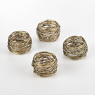 Saro Lifestyle Metal Design Metal Design Napkin Ring (Set of 4), Gold, large