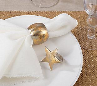 Saro Lifestyle Gold Texture Design Napkin Ring (Set of 4), , rollover
