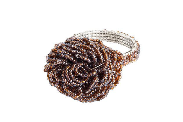 Saro Lifestyle Beaded Flower Napkin Ring (Set of 4), , large
