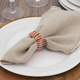 Saro Lifestyle Wood Napkin Ring with Striped Design (Set of 4), , rollover