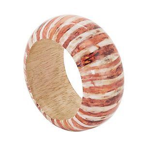 Saro Lifestyle Wood Napkin Ring with Striped Design (Set of 4), , large
