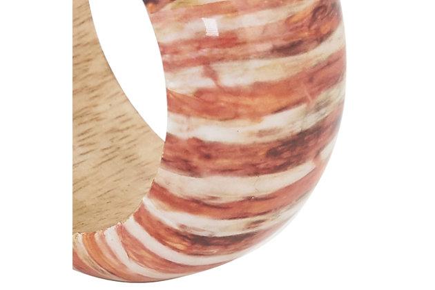Saro Lifestyle Wood Napkin Ring with Striped Design (Set of 4), , large
