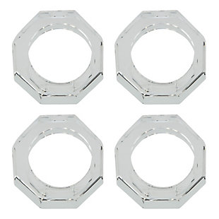 Saro Lifestyle Glass Crystal Octagonal Facet Napkin Ring (Set of 4), , large