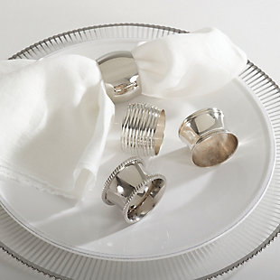 Saro Lifestyle Saro Silver Round Shape Napkin Ring (Set of 4), , rollover