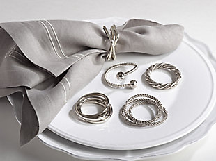 Saro Lifestyle Curled Design Napkin Ring (Set of 4), , rollover