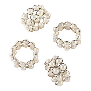 Saro Lifestyle Faux Pearl Beaded Design Event Napkin Ring (Set of 4), , large