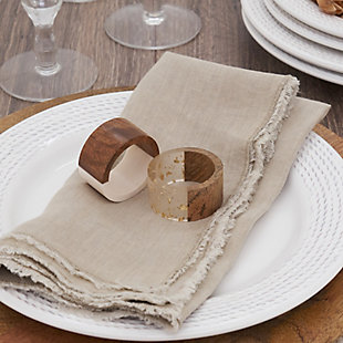 Saro Lifestyle Table Napkin Rings with Wood and Resin Design (Set of 4), , rollover