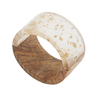 Saro Lifestyle Table Napkin Rings with Wood and Resin Design (Set of 4), , large