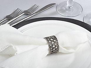 Saro Lifestyle Diamond Cutout Design Tribal Style Napkin Ring (Set of 4), , rollover