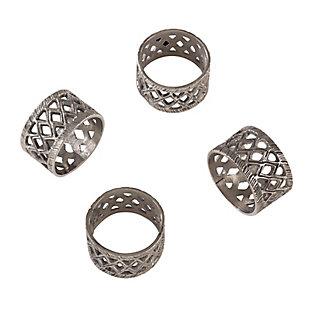 Saro Lifestyle Diamond Cutout Design Tribal Style Napkin Ring (Set of 4), , large
