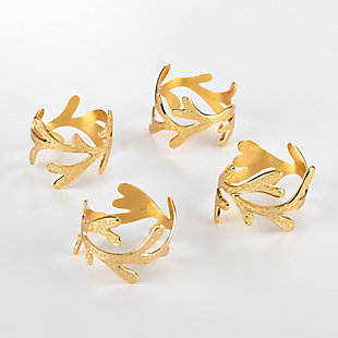 Saro Lifestyle Vine Design Napkin Ring Vine Napkin Ring (Set of 4), Gold, large