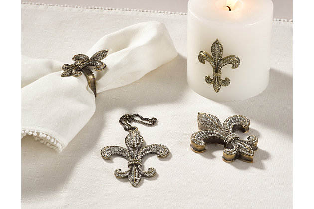 Saro Lifestyle Fleur-de-Lis Design Napkin Ring (Set of 4), , large