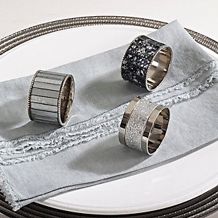 Saro Lifestyle Elegant Napkin Ring with Sparkling Design (Set of 4), , rollover