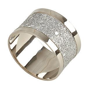 Saro Lifestyle Elegant Napkin Ring with Sparkling Design (Set of 4), , large
