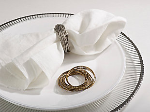 Saro Lifestyle Metallic Bronze Metal Bangled Napkin Ring (Set of 4), , rollover